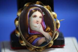 Antique Portrait Porcelain Sterling Brooch & Earrings