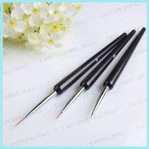 pcs Pro UV Gel Nail Art Design Brush Set Black New