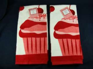 Valentine Day Cupcake Kitchen Towel Set of 2 NWT