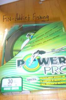 Power Pro Spectra braided fishing line 30 lb yd 300 Grn