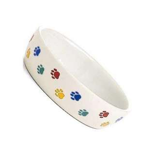 White Stoneware Paw Print Bowl Cats