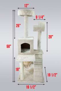 Deluxe 50 Cat Tower Tree w Condo Scratcher Furniture Kitten House