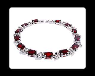 Fashion Jewelry Lady Gift Red Ruby White Gold GP Tennis Bracelet Chain