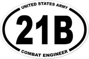 OVAL US ARMY COMBAT ENGINEER 21B EURO STICKER