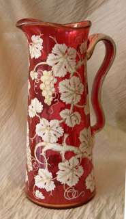 1840s/50s Gold Over White Hand Painted CRANBERRY Glass PITCHER