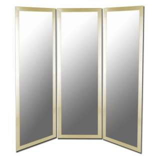 Gold Full Length Free Standing Tri Fold Mirror   66W x 70H in. Decor