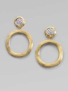 Marco Bicego   Diamond & 18K Yellow Gold Circle Earrings