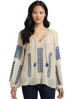 Love Sam   Embroidered Silk Top