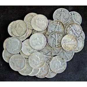 Half dollar collection 1 liberty standing, 1 Ben Franklin