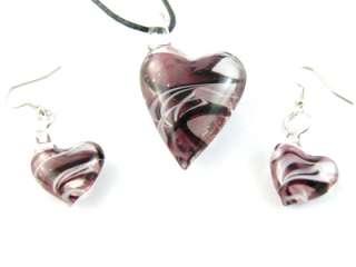 MultiColors Heart Shape Murano Lampwork Glass Pendant Chain Necklace