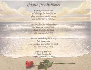 If Roses Grow In Heaven Memorial Poem For Any Loved One Choose Art