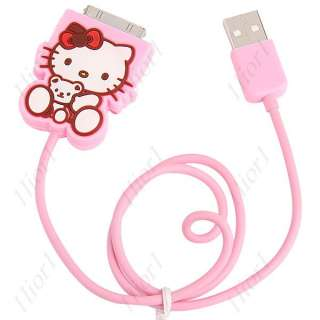 Hello Kitty USB Data Line Charging Cable iPod iPhone 4 4g 4gs New Cute