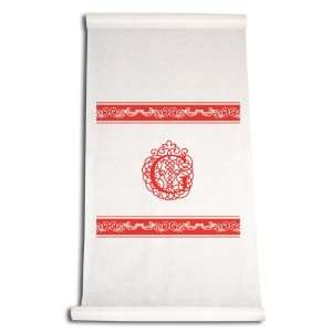 Inch Aisle Runner, Fancy Font Letter G, White with Red: Home & Kitchen