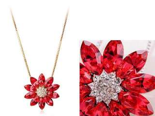 Light Siam Ruby Red Swarovski Crystal Rhinestone Petal Flower Pendant