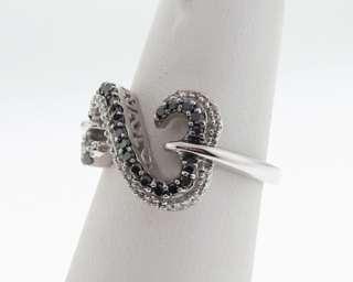 Open Hearts by Jane Seymour Black White Diamonds 14k White Gold Ring