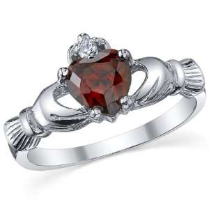 Claddagh Friendship & Love Red Garnet Heart CZ Ring Size 4 Jewelry