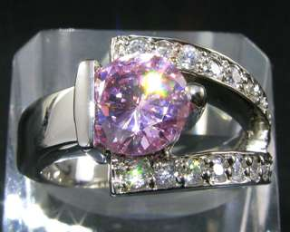 Round Cut Pink Sapphire White Gold GP Fashion Jewelry Ring 7