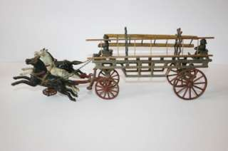 Antique Cast Iron Fire Wagon Truck Ladders 3 Horses Gen