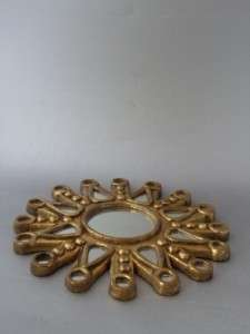 VTG HOLLYWOOD REGENCY GOLD GILT SUNBURST STARBURST ROUND WALL MIRROR