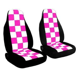 2 Black with white and hot pink checkered car seat covers