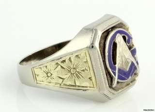 Vintage Blue Lodge Masonic Band   10k White & Yellow Gold Masons Ring