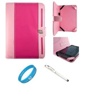Magenta and Pink Executive Leather Book Style Portfolio