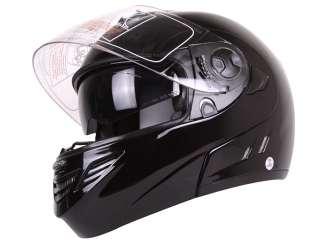 BLACK DUAL VISOR MODULAR MOTORCYCLE HELMET DOT   M