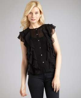 ADAM black silk ruffle front sleeveless top