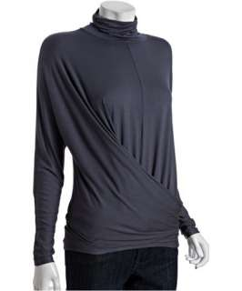 Three Dots grey slate stretch jersey ruched front turtleneck shirt