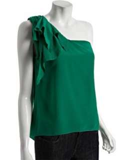 Geren Ford bright green silk ruffle one shoulder blouse   up