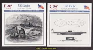 USS MONITOR Ironclad Union Navy Ship Boat U.S. CIVIL WAR 2 CARDS