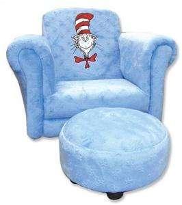 Trend Lab DR SEUSS CAT HAT Chair w/Ottoman BLUE Toddler