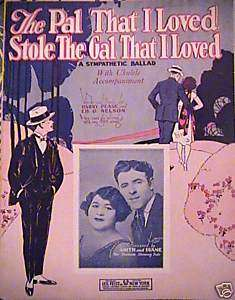 THE PAL THAT I LOVED Antique Piano Sheet Music 1924