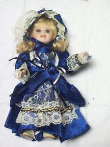 Porcelain Doll Victorian Style Dress Inset Eyes Lashes