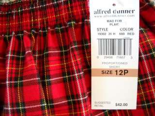 Alfred Dunner NWOT Red Black Plaid Dress Pants 12P
