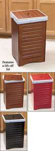 WOODEN KITCHEN GARBAGE TRASH CAN BIN w LID BLACK MAPLE RED WOOD HOME