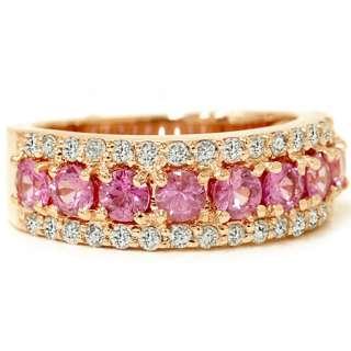 & Diamond WIDE Anniversary Ladys Wedding Ring 14K Rose Gold