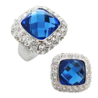 12mm Cushion Cut Crystals Cocktail Ring Size 6 7 8 9 10