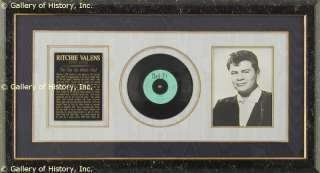 RITCHIE VALENS   INSCRIBED RECORD SIGNED