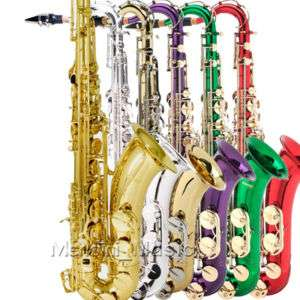 NEW PRO LEVEL GOLD SILVER TENOR SAXOPHONE SAX+$39 TUNER