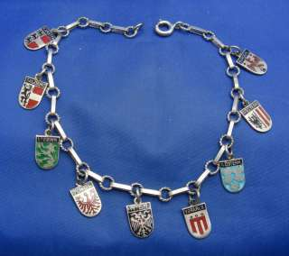 800 Silver & Enamel Travel Shield Charm Bracelet (Dot Dash) 9 charms