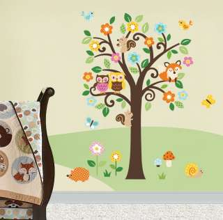 Giant Nursery/Baby Wall Decals Scroll Flowers Tree & Forest Animals 4