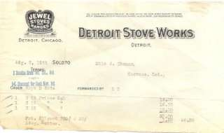 Detroit Stove Works Jewel Stoves & Ranges Billhead 1911