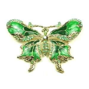 Green Austrian Rhinestone Butterfly Gold Tone Brooch Pin Jewelry