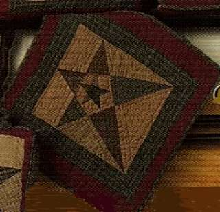 PRIMITIVE STAR 18 TEA DYE QUILT WALL HANGING TABLE MAT
