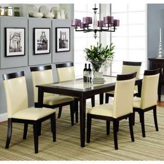 Evious 7 Piece Faux Marble Top Dining Table Set