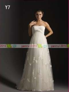 White/Ivory Custom Size Applique Tulle Maternity Dress/Wedding Gown