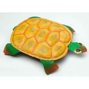 Painted Yellow Turtle   Haitian Metal Art Design   18 X